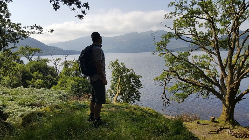 Scott enjoying the lovely loch views in the clearings