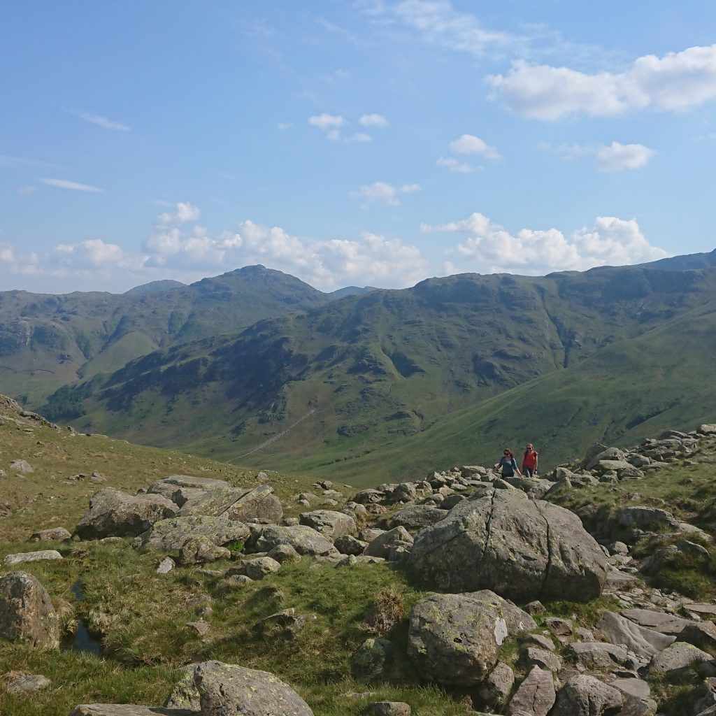 Nearing the top of Stake Pass, with great veiws down Langdale and beyond.