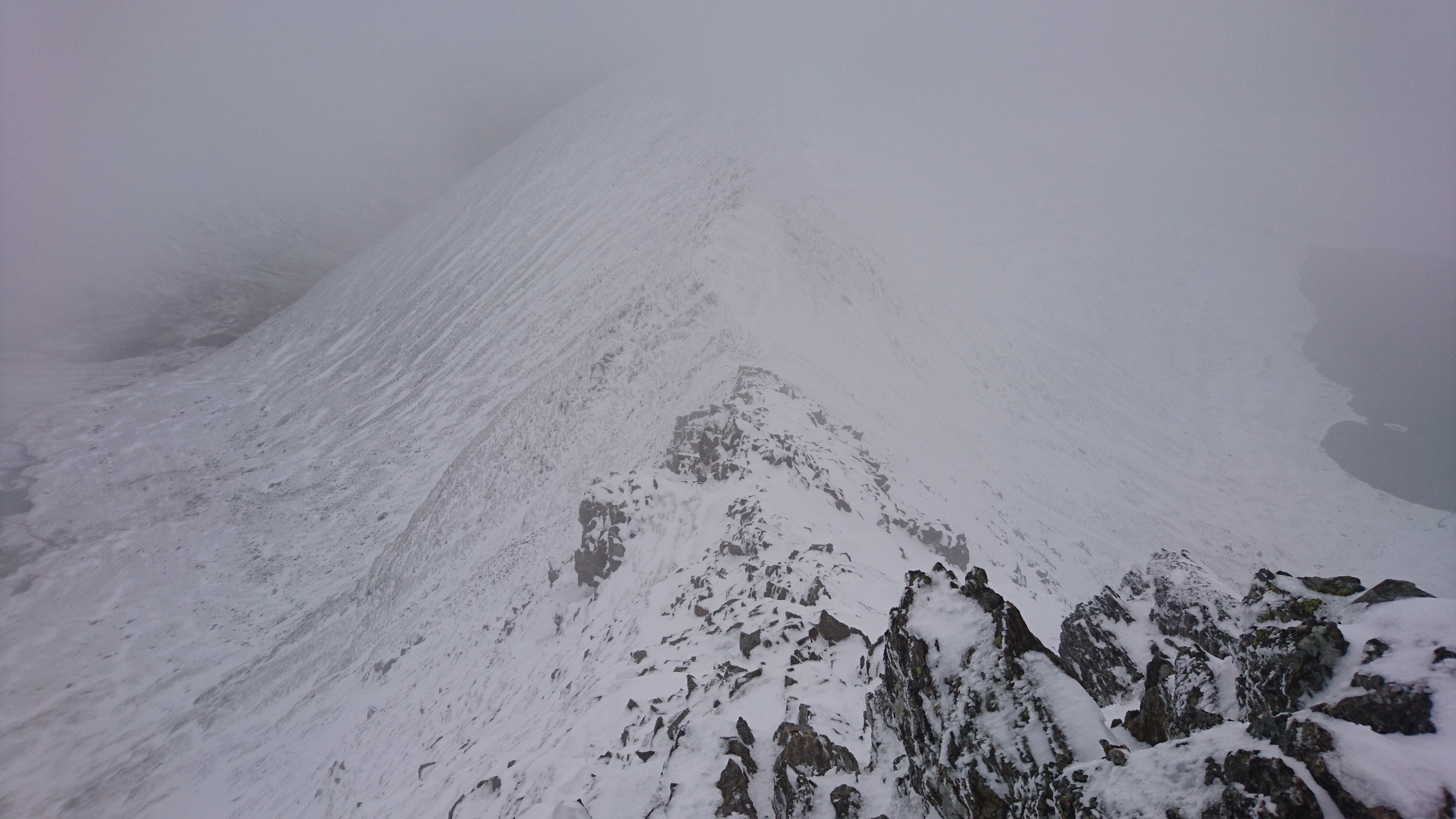 Heading down Swirral Edge
