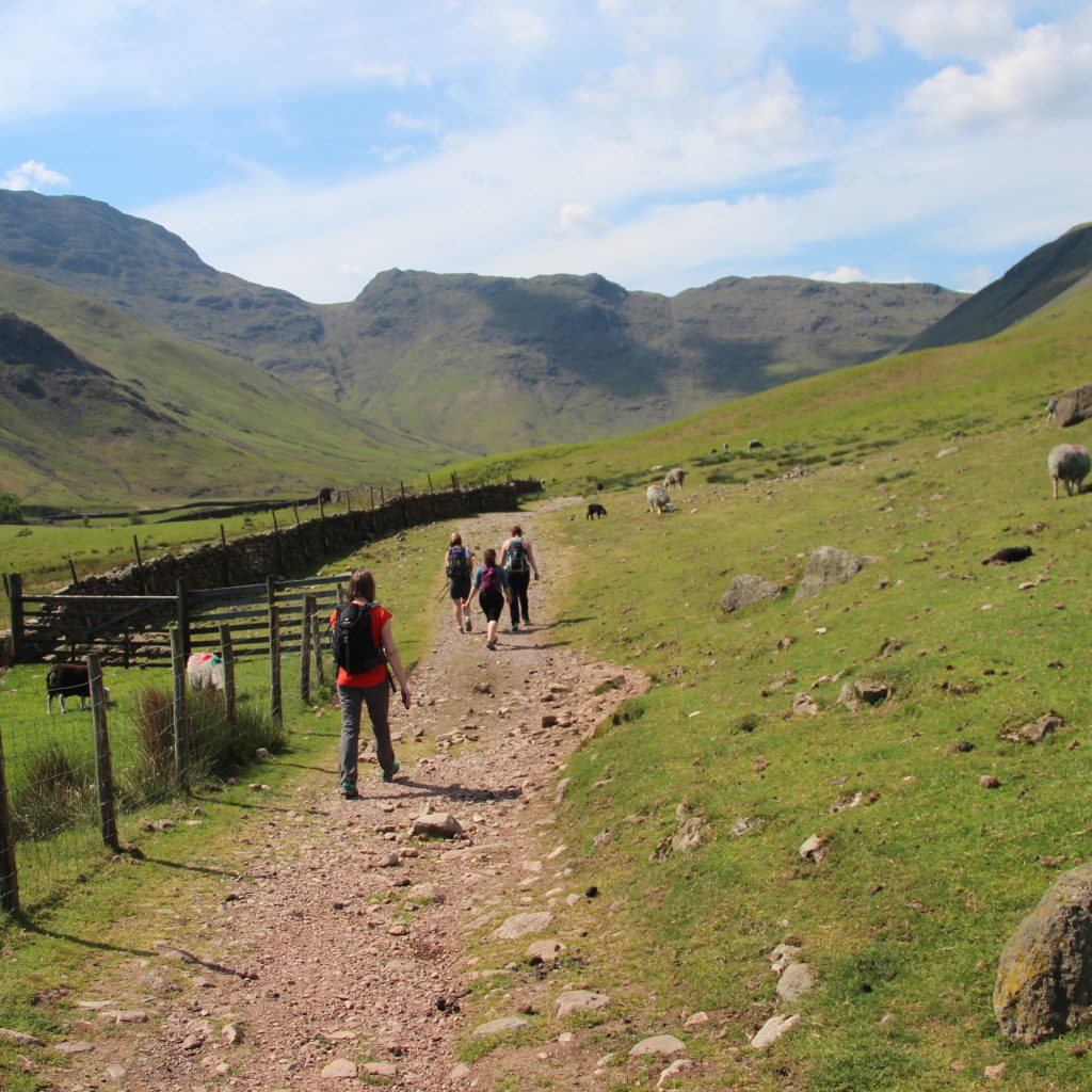 Walking down Mickleden on the Cumbria Way