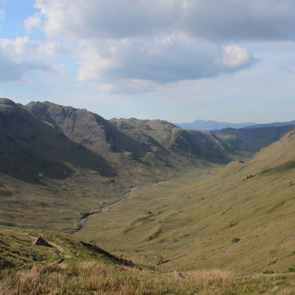 Looking down Langstrath. The Cumbria Way follws the left bank of the beck.