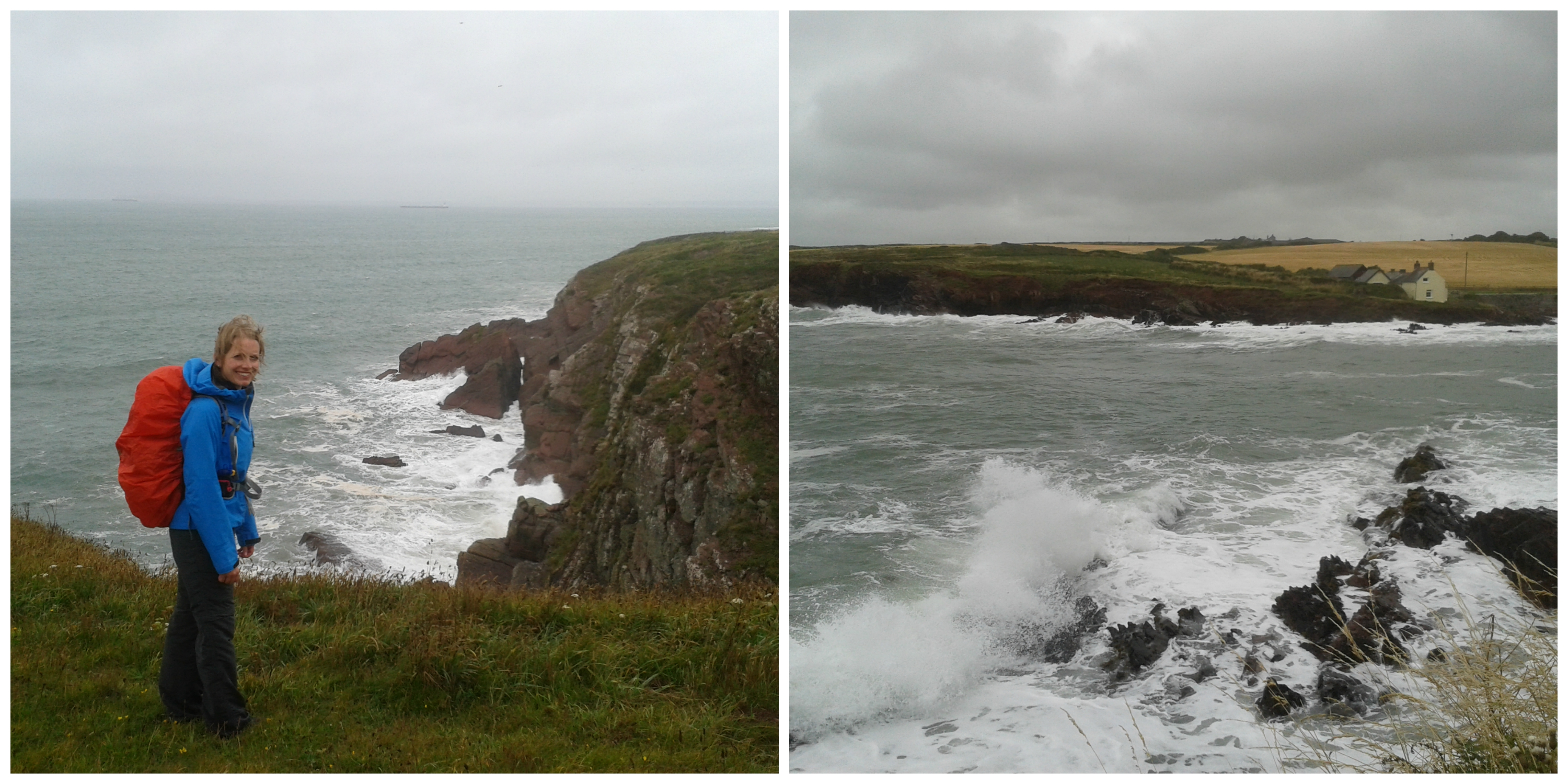 Lynne Braving the Weather on the Pembrokeshire Coast