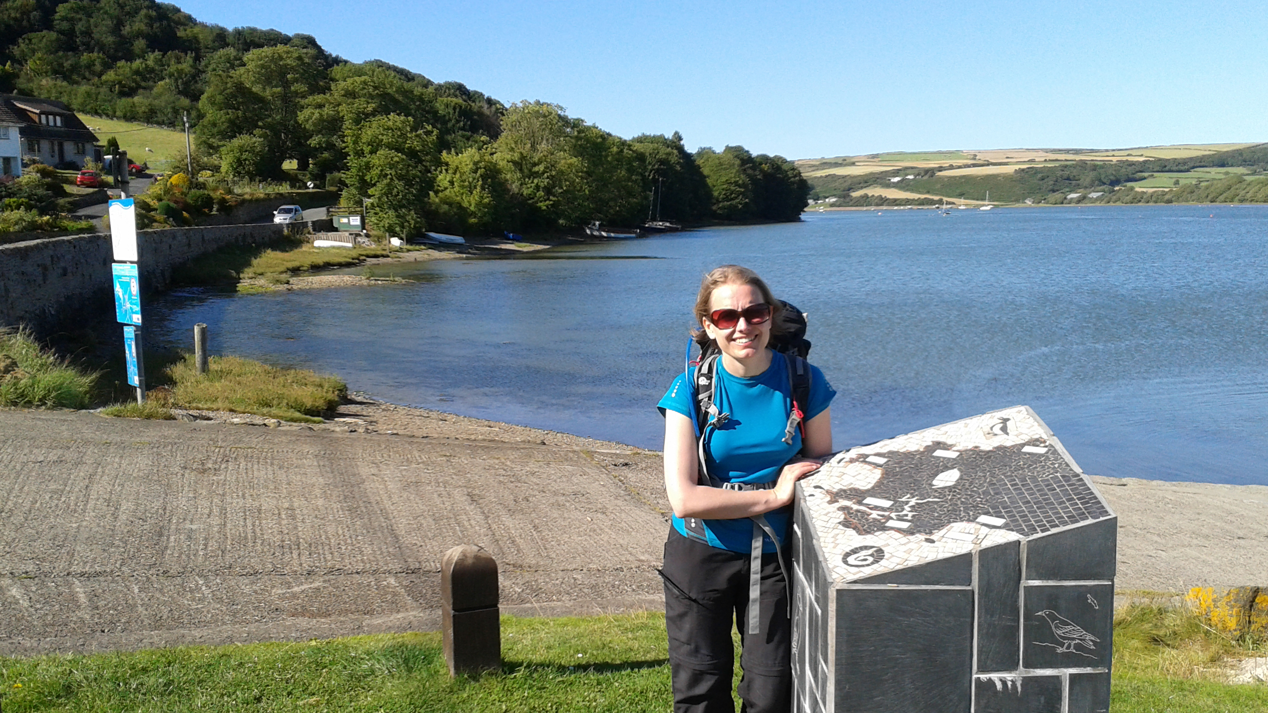 Lynne at St Dogmeals the end of the Pembrokeshire Coast Path