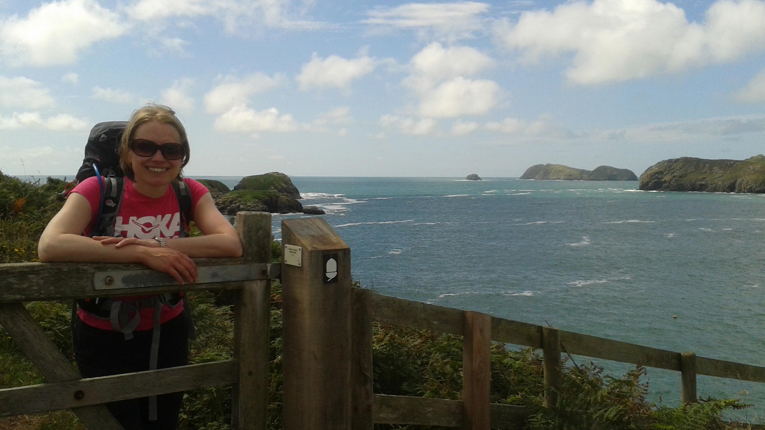 Lynne on the Pembrokeshire Coast Path