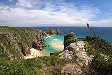 Porthcurno Beach form the South West Coast Path