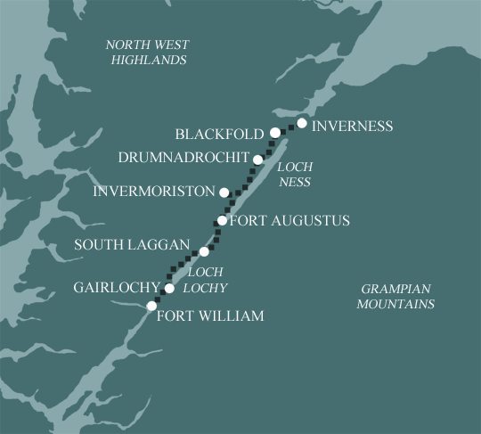 Fort Williams Scotland Map.Great Glen Way Walking Holidays In Scotland From Mickledore Travel