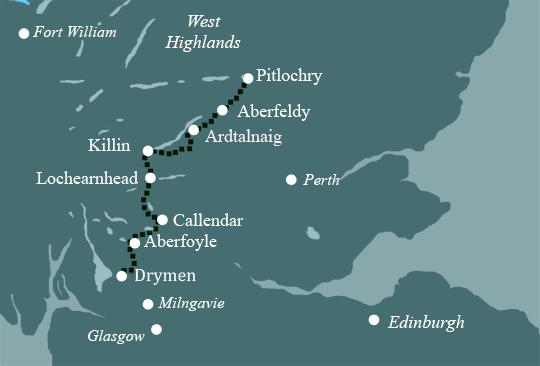 Pitlochry Scotland Map.Scottish Self Guided Walks Walking Holidays In Scotland Rob Roy Way